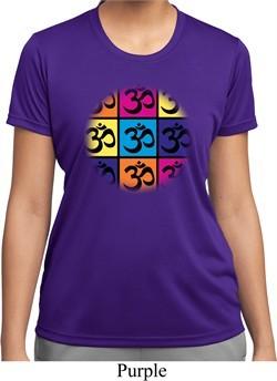 Ladies Yoga Shirt Pop Art Om Moisture Wicking Tee