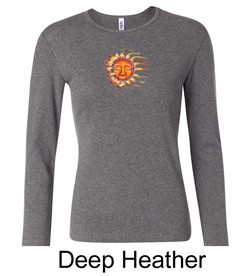 Ladies Yoga Shirt Sleeping Sun Meditation Long Sleeve Shirt