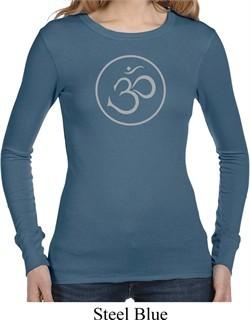 Ladies Yoga Shirt Thin OM Long Sleeve Thermal Tee T-Shirt