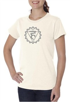 Ladies Yoga Shirt Vishuddha Chakra Meditation Organic T-shirt