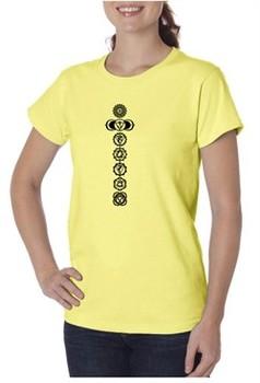 Ladies Yoga T-shirt 7 Chakras Black Print Organic Tee