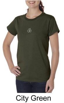 Ladies Yoga T-shirt ? Aum Hindu Patch Organic Tee Shirt