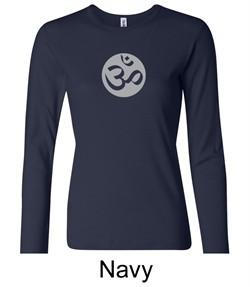 Ladies Yoga T-shirt ? Om Symbol Big Print Long Sleeve Shirt