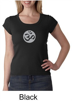 Ladies Yoga T-shirt ? Om Symbol Big Print Scoop Neck Shirt