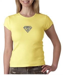 Ladies Yoga T-Shirt Super OM Small Print Crew Neck Shirt