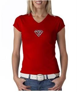 Ladies Yoga T-Shirt Super OM Small Print V-Neck Shirt