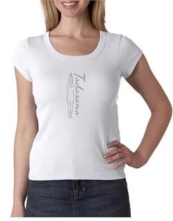 Ladies Yoga T-shirt Tadasana Mountain Pose Scoop Neck Shirt