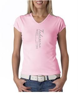 Ladies Yoga T-shirt Tadasana Mountain Pose V-Neck Shirt
