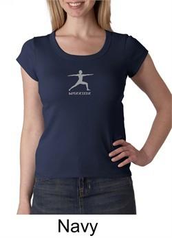 Ladies Yoga T-shirt ? Warrior 2 Pose Meditation Scoop Neck Shirt