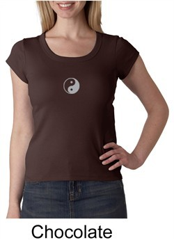 Ladies Yoga T-shirt ? Yin Yang Meditation Scoop Neck Shirt