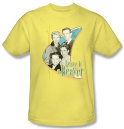 Leave it to Beaver Shirt Wholesome Family Adult Yellow Tee T-Shirt
