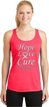 Lung Cancer Tee Hope Love Cure Ladies Dry Wicking Racerback