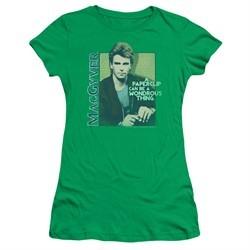 MacGyver Juniors Shirt Wonderous Paperclip Kelly Green T-Shirt