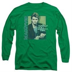 MacGyver Long Sleeve Shirt Wonderous Paperclip Kelly Green Tee T-Shirt