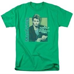 MacGyver Shirt Wonderous Paperclip Kelly Green T-Shirt