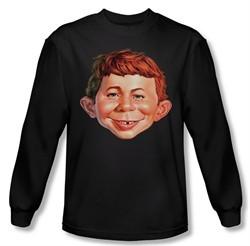 Mad Magazine Shirt Alfred Head Long Sleeve Black Tee T-Shirt