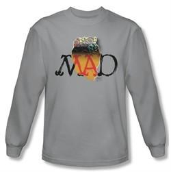 Mad Magazine Shirt Torn Logo Long Sleeve Silver Tee T-Shirt