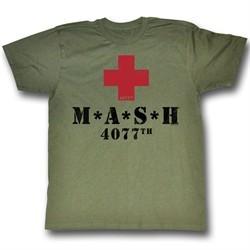 MASH Shirt Red Cross Adult Army Green Tee T-shirt