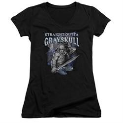 Masters Of The Universe Shirt Juniors V Neck Straight Outta Grayskull Black Tee T-Shirt