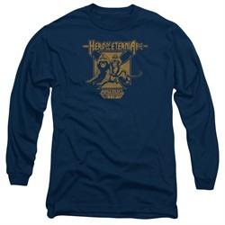 Masters Of The Universe Shirt Long Sleeve Hero Of Eternia Navy Tee T-Shirt
