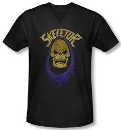 Masters Of The Universe Shirt Slim Fit V Neck Skeletor Hood Black Tee