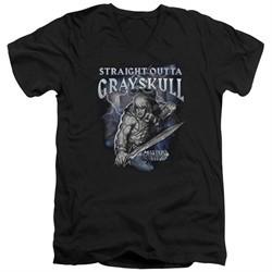 Masters Of The Universe Shirt Slim Fit V Neck Straight Outta Grayskull Black Tee T-Shirt