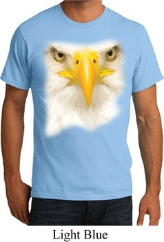 Mens Bald Eagle Shirt Big Bald Eagle Face Organic T-Shirt