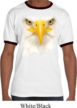 Mens Bald Eagle Shirt Big Bald Eagle Face Ringer Tee T-Shirt