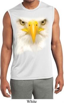 Mens Big Bald Eagle Face Sleeveless Moisture Wicking Tee T-Shirt