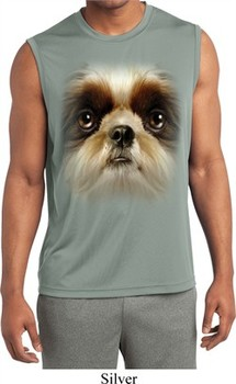 Mens Big Shih Tzu Face Sleeveless Moisture Wicking Tee T-Shirt