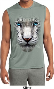 Mens Big White Tiger Face Sleeveless Moisture Wicking Tee T-Shirt