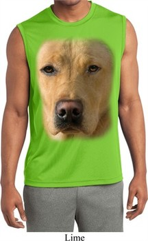 Mens Big Yellow Lab Face Sleeveless Moisture Wicking Tee T-Shirt