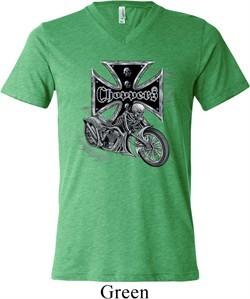 Mens Biker Shirt Chopper Cross Skeleton Tri Blend V-neck Tee T-Shirt