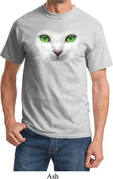 Mens Cat Shirt Green Eyes Cat Tee T-Shirt