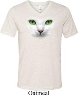Mens Cat Shirt Green Eyes Cat Tri Blend V-neck Tee T-Shirt