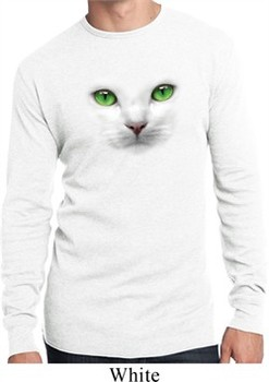 Mens Cat Shirt Green Eyes Cat White Long Sleeve Thermal Tee T-Shirt