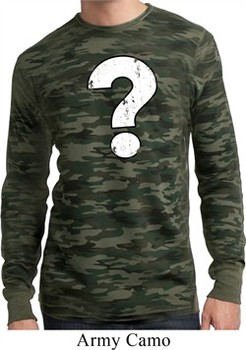 Mens Distressed Question Long Sleeve Thermal Shirt