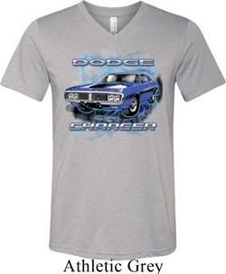 Mens Dodge Shirt Blue Dodge Charger Tri Blend V-neck Tee T-Shirt