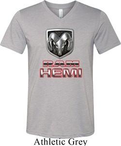 Mens Dodge Shirt Ram Hemi Logo Tri Blend V-neck Tee T-Shirt