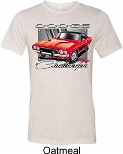 Mens Dodge Shirt Red Challenger Tri Blend Crewneck Tee T-Shirt