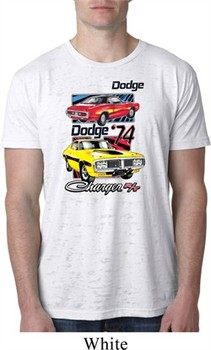 Mens Dodge Shirt Vintage Chargers White Burnout Tee T-Shirt
