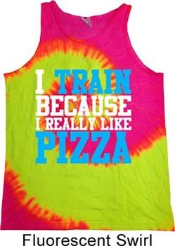 Mens Fitness Shirt I Train For Pizza Tank Tie Dye Tee T-shirt