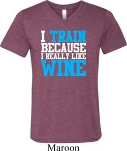 Mens Fitness Shirt I Train For Wine Tri Blend V-neck Tee T-Shirt