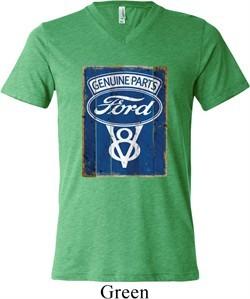 Mens Ford Shirt V8 Genuine Ford Parts Tri Blend V-neck Tee T-Shirt