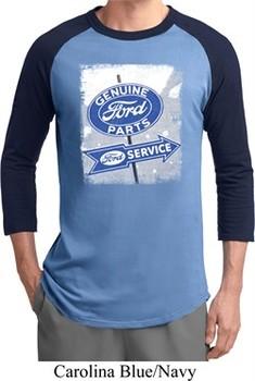 Mens Ford Shirt Vintage Sign Genuine Ford Parts Raglan Tee T-Shirt