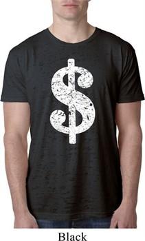 Mens Funny Shirt Distressed Dollar Sign Burnout Tee T-Shirt