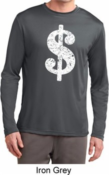 Mens Funny Shirt Distressed Dollar Sign Dry Wicking Long Sleeve TShirt