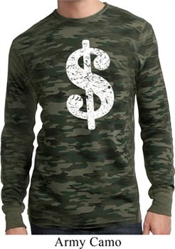 Mens Funny Shirt Distressed Dollar Sign Long Sleeve Thermal T-Shirt