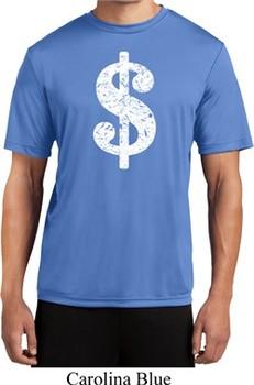 Mens Funny Shirt Distressed Dollar Sign Moisture Wicking Tee T-Shirt