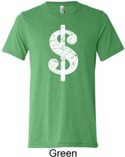 Mens Funny Shirt Distressed Dollar Sign Tri Blend Crewneck Tee T-Shirt